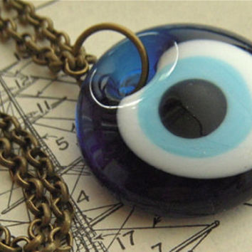 Blue Evil Eye Necklace Handmade Glass Eyeball Pendant Jewelry Long Antiqued Brass Rolo Chain Included