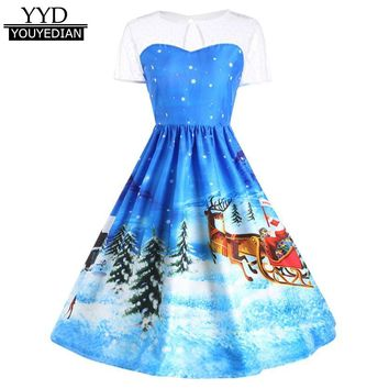2017 New Arrival Women's Vintage Dress Christmas Printed Lace Short Sleeve A-Line Swing Dress For Women Christmas Clothes#1109