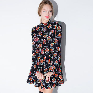 2016 Spring Summer Retro vintage Floral Women One-Piece Dress