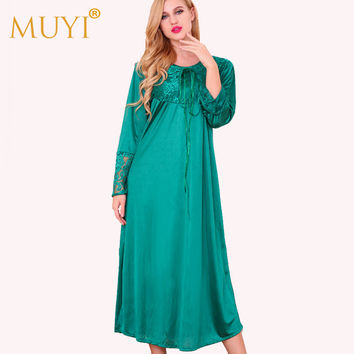 Lace Nightgowns Sleepshirts Women Sleepwear Night Dress Sexy Nightwear Dressing Gown Long Nightgown Full Sleeve Sleep Lounge Hot