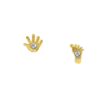 Brushed Yellow Gold & Silver Little Hands and Feet Stud Earrings