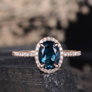London Blue Topaz Ring Engagement Ring November Birthstone