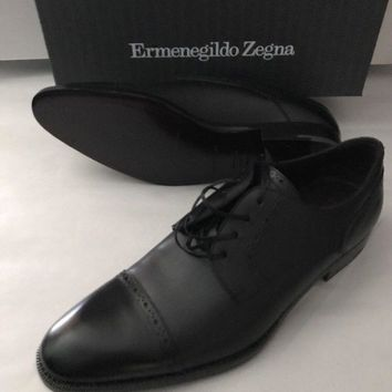 New $695 Ermenegildo Zegna Leather Shoes Black 8 US Made In Italy
