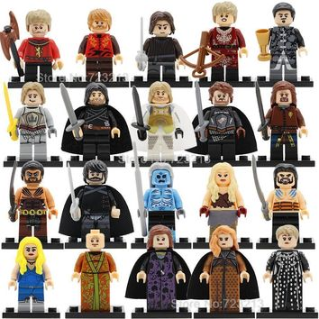 20pcs Game of Thrones Jon Snow Dany Figure Set Tyrion Cersei Jaime Lannister Arya Sansa Robb Eddard Stark Building Block Toys