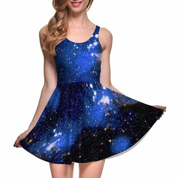 S To 4xl New Sexy Women Blue Galaxy Summer Dress Female Green Red SKATER DRESS Pleated Mini Sexy Dresses For Women Drop Shipping