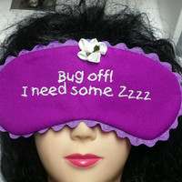 Purple Pink Embroidered Sleep Eye Mask with a Flower and Ric Rac Trim, Travel Mask, Beauty Mask