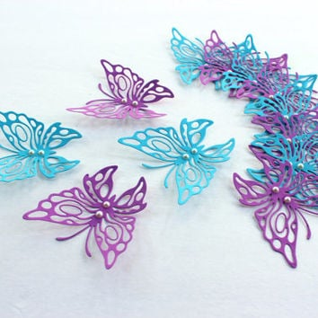 3d butterfly art,Blue Butterflies,Purple butterflies,butterfly wall decor,Paper butterflies,3d butterflies,,