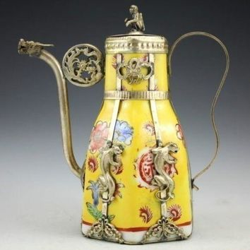 Exquisite Antique Porcelain Teapot  Inlaid with Tibetan Silver