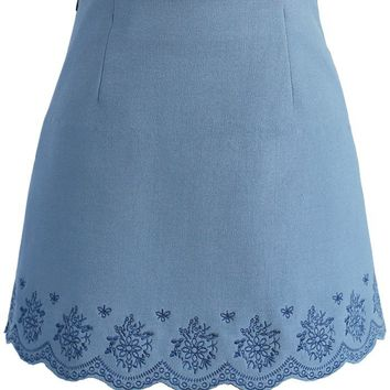 Blue Florets Embroidered Bud Skirt