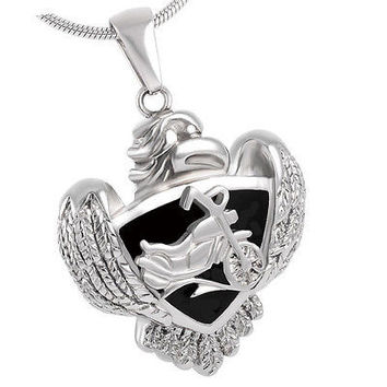 "Cremation ""HD Biker Eagle"" Urn Necklace Jewelry"
