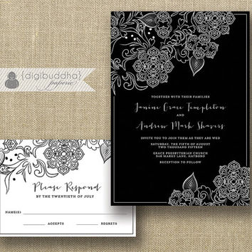 Black & White Lace Wedding Invitation and RSVP 2 Piece Suite Shabby Chic Classic Tonal Black Modern Script Floral DiY or Printed- Janine