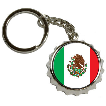 Mexico Mexican Flag Pop Cap Bottle Opener Keychain