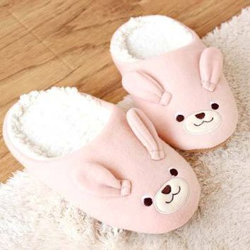 Adorable Bunny Rabbit Animal Shaped Slip-On Slippers for Women in Pink