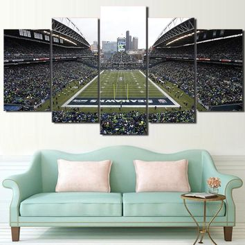 HD Printed 5 Piece Canvas Art Seattle Seahawks Football Game Canvas Wall Art Painting Wall Pictures dorp shipping