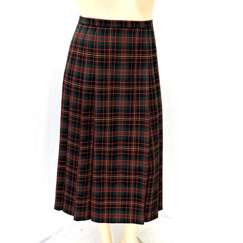 Vintage 80s Pendleton maxi skirt / size XL 15 / 16 / plaid pleated maxi skirt / wool tartan maxi skirt / SunnyBohoVintage