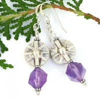 Purple Amethyst and Silver Sun Earrings, Star Cut Gemstone Handmade Jewelry for Women