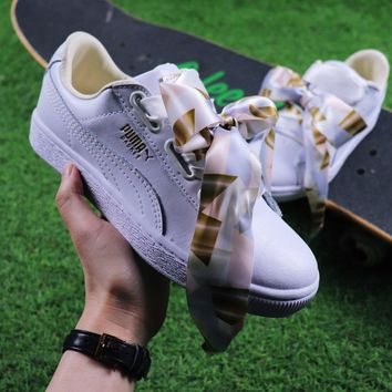 Sale Puma Suede Heart Trainer Shoes White Gold Casual Shoes Low-Top Sneakers