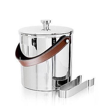 Ralph Lauren Preston Stainless Steel & Saddle Leather Ice Bucket with