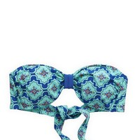 Aerie Women's Floral Bandeau Bikini Top (Lookbook Green)