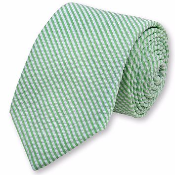 Seersucker Stripe Necktie in Mint Green by High Cotton