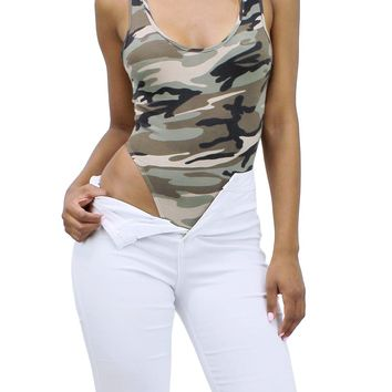 Camo Round Neck Sleeveless Scoop Back Tank Thong Bodysuit