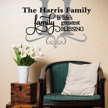 Family Is Life's Greatest Blessing Quote Personalized Custom Family Name Vinyl Wall Decal Sticker