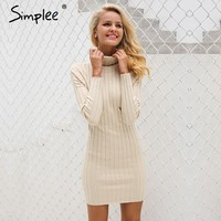 Casual cotton turtleneck knitting dress women Slim long sleeve body con pullovers dress Autumn winter dress