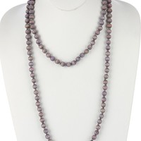Purple Long Wooden Bead Necklace