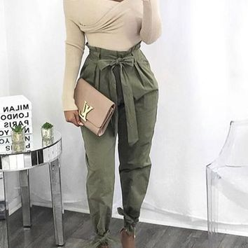 Army Green Pockets Sashes Casual Long Pants