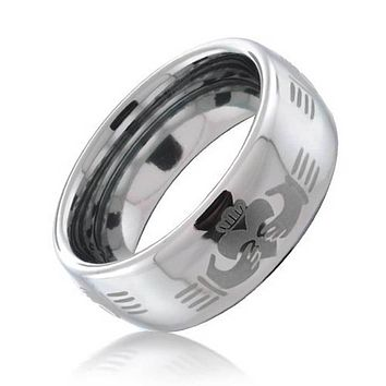 Celtic Irish BFF Claddagh Couples Wedding Band Tungsten Ring 8MM