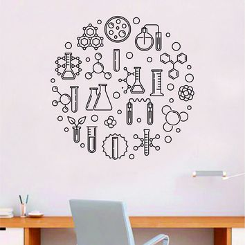 Science Circle Quote Decal Sticker Wall Vinyl Art Home Room Decor Teacher School Classroom Work Job Smart Learn Chemist