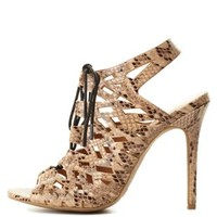 Natural Peep Toe Python Cut-Out Lace-Up Heels by Charlotte Russe