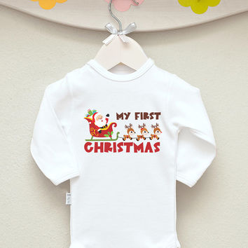 My First Christmas - Christmas Baby Bodysuit Baby Santa Sleigh Romper Short or Long Sleeve. Add Your Name