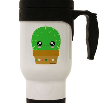 Cute Cactus Design Stainless Steel 14oz Travel Mug by TooLoud