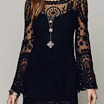 Black Sheer Lace Long Sleeve Mini Dress