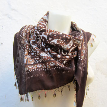 Handmade Traditional Turkish Fabric Scarf-Crochet Oya-brown cream