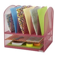 Safco Products 5903PI Onyx Mesh Desktop Organizer with 6 Vertical/2 Horizontal Sections, Pink