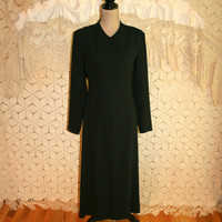 Long Sleeve Black Dress Fitted Minimalist Goth Gothic Winter Dress Funeral Dress Tea Length Talbots Size 12 Dress Large Womens Clothing