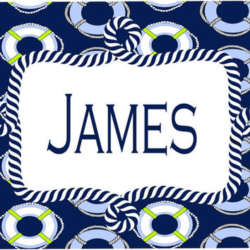 Preppy Nautical Room Sign. Great Baby Shower or Boy's Birthday gift! Hospital or Nursery door sign. Monogram or full name. 5x7