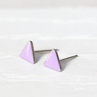 Teeny Triangle Post Earrings in Lilac - Hypoallergenic Surgical Steel