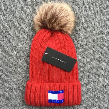 Tommy hilfiger 2018 new autumn and winter ball warm wool hat Red