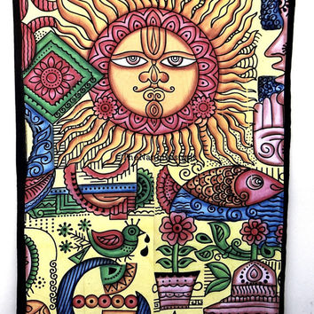 Paint Brush Indian sun moon Wall Hanging, Mandala ,Wall Tapestries,IndianTapestry,Medallian Tapestries Wall Hanging, Bohemian Tapestries