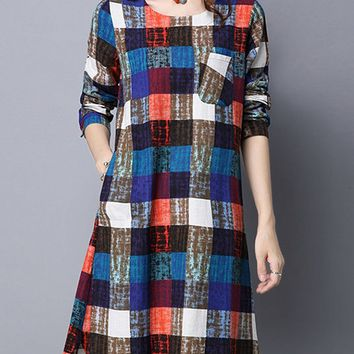 Streetstyle  Casual Color Block Plaid Cotton/Linen Shift Dress