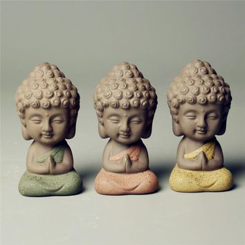 small Buddha statue Zakka decorative ceramic ornaments monk figurine tathagata India Yoga Mandala tea pet colour ceramic crafts