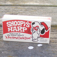 Vintage Snoopy's Harp Jaw Harp 1969 box and instructions