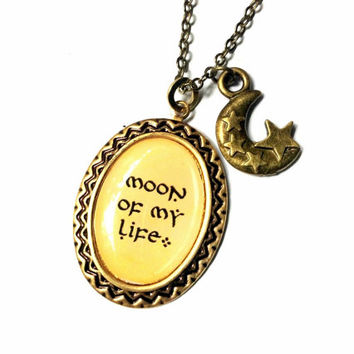 Moon of My Life necklace, resin pendant with moon charm