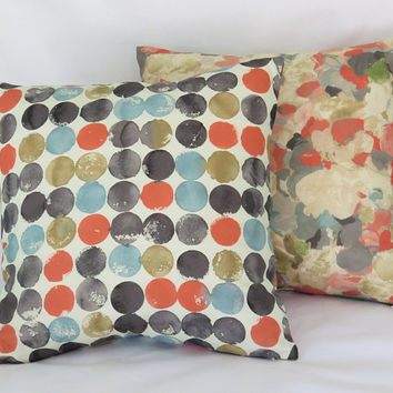 "Coral Teal Grey Reversible Pillow Cover, Dots and Floral, Waverly Fabric, Blue Orange Gold, Mod Watercolor Print, 17"" Cotton Sq, Ready Ship"