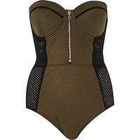 River Island Womens Khaki mesh insert swimsuit