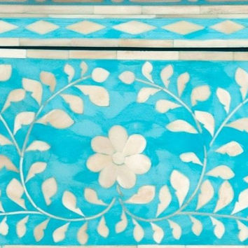 Bone Inlay Furniture - TURQUOISE Four 4 Drawers Floral Moroccan Dresser Sideboard / Credenza | Free Shipping