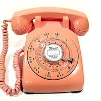 WORKING - Pink Rotary Phone Telephone 1959